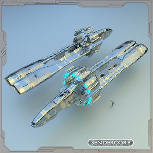 cruiser starship sendercorp 3d model