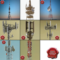 3d telecommunication towers 3