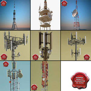 3d telecommunication towers 3