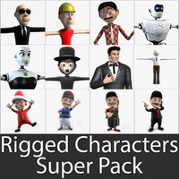 3d rigged characters super pack model