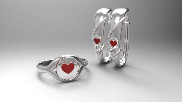 silver ring earring pack 3ds