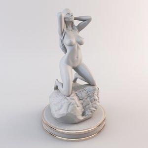 3d female figurine art