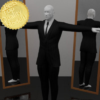 3dsmax black pinstripe suit