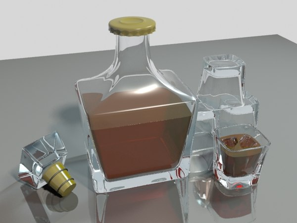 3d decanter set whiskey model