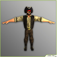 Cartoon Male Pirate T-Pose Version