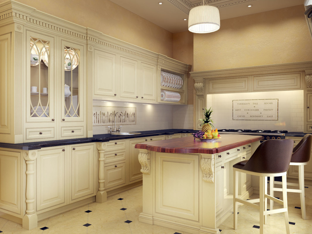 3d model classic kitchen