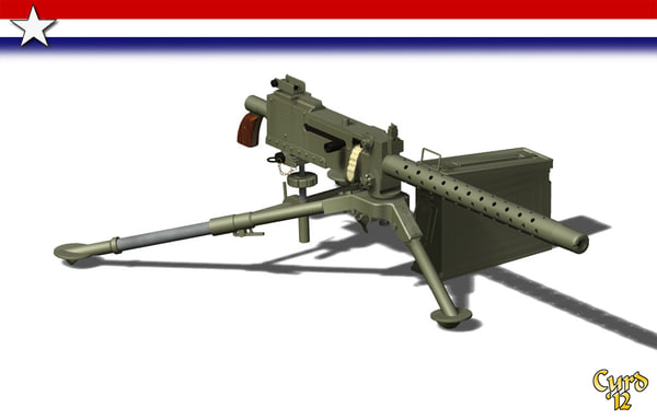3d model machine gun 1919