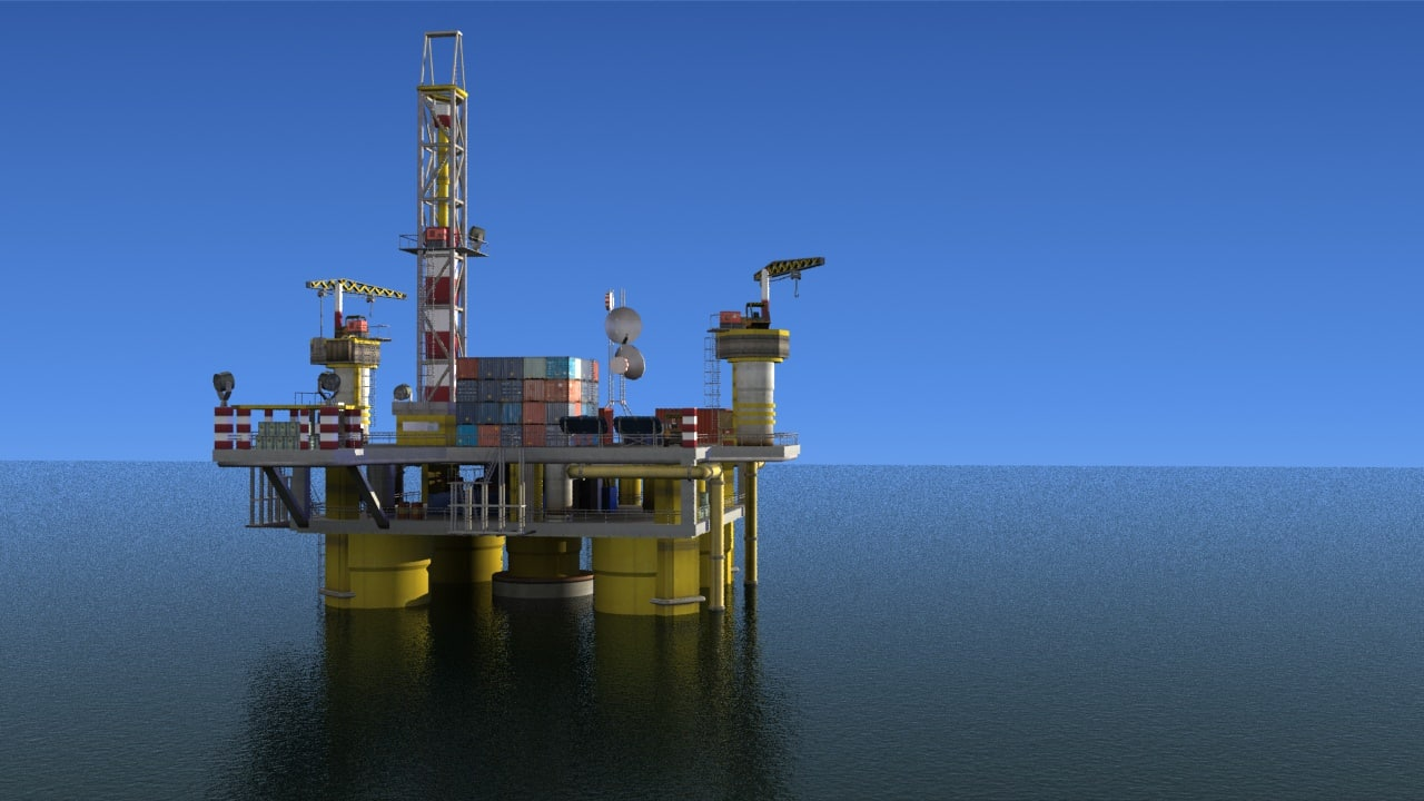 3d model of oil platform scene level