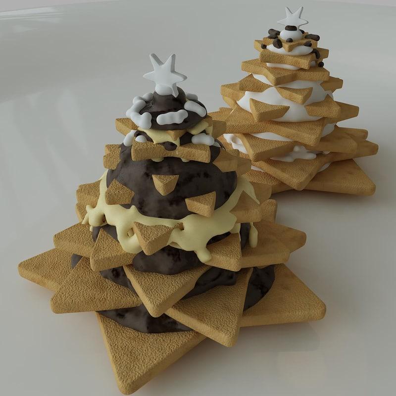 3d star biscuit cream model