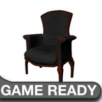 victorian chair black 3d obj