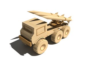 3d model wooden military rocket launcher