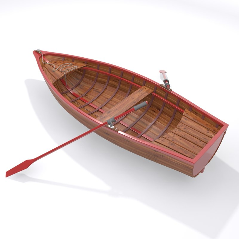 rowboat boat fishing 3d max