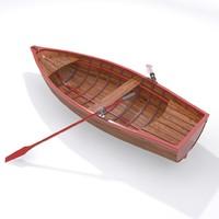 rowboat boat fishing 3d max