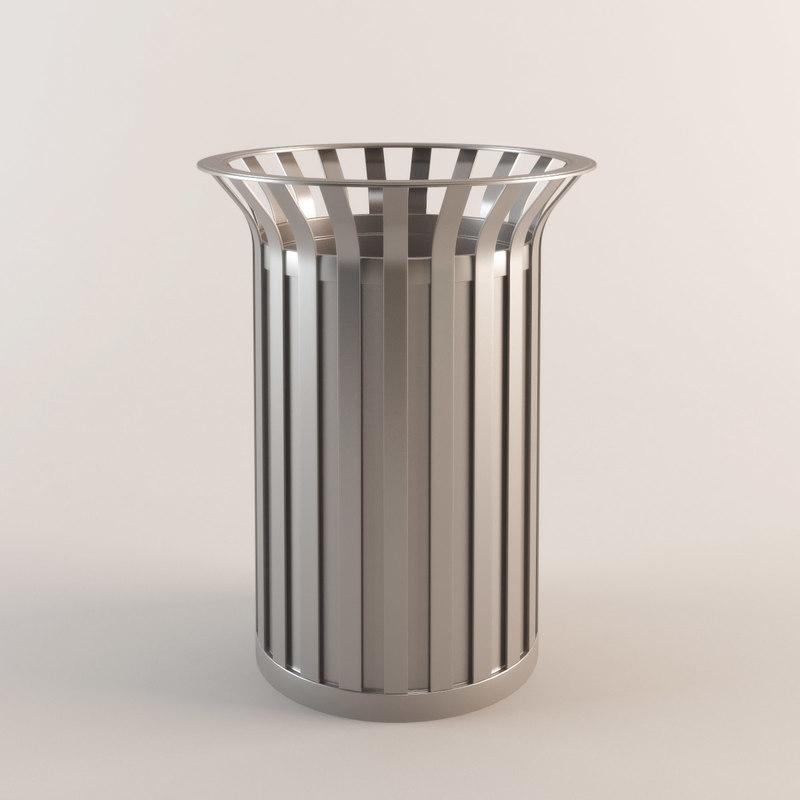 waste bin 3d max