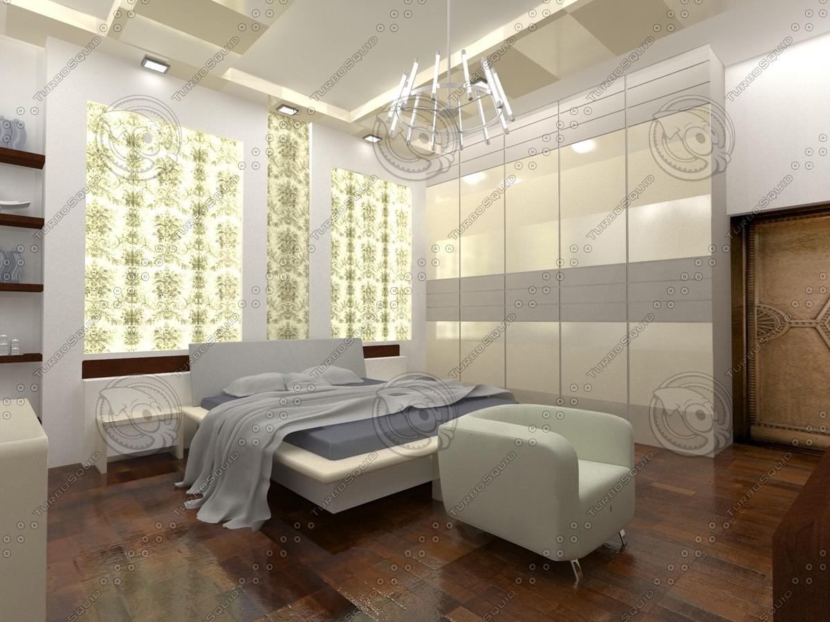 3d modern bed room