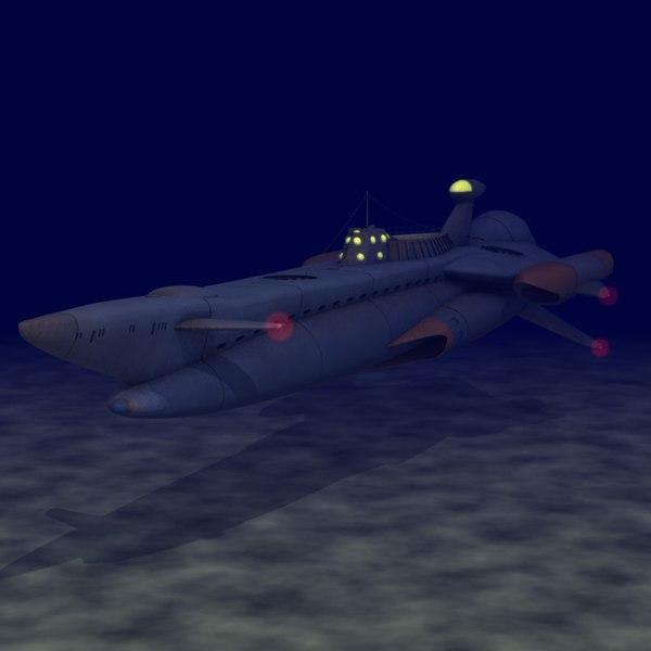 captain submarine 3d c4d