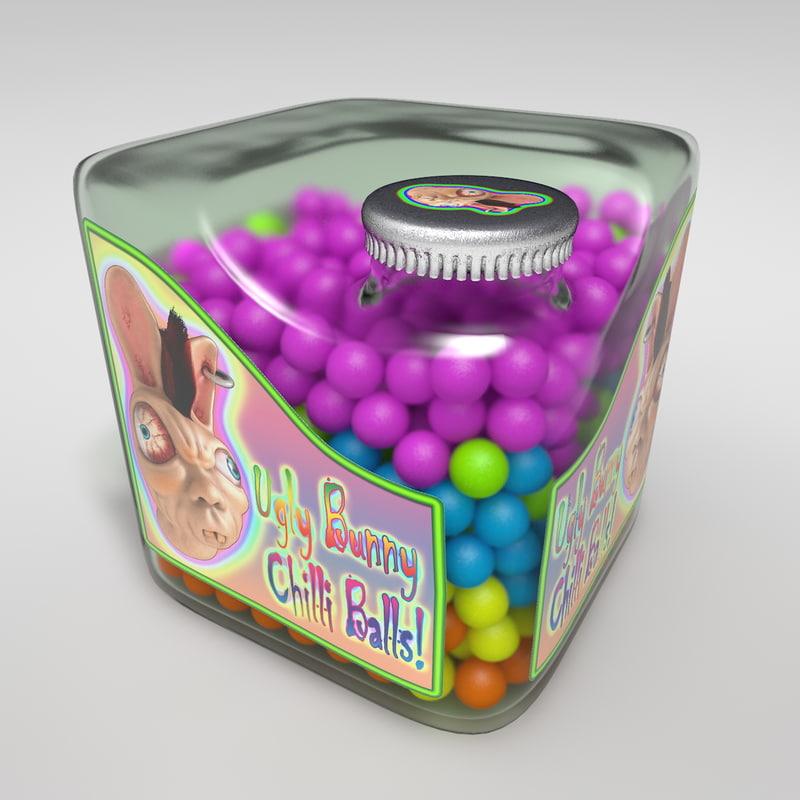 3d model cubic candy bottle