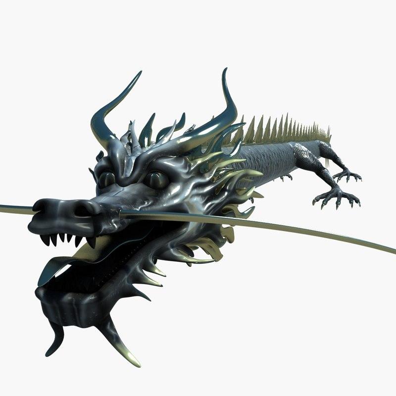 chinese dragon 3d obj