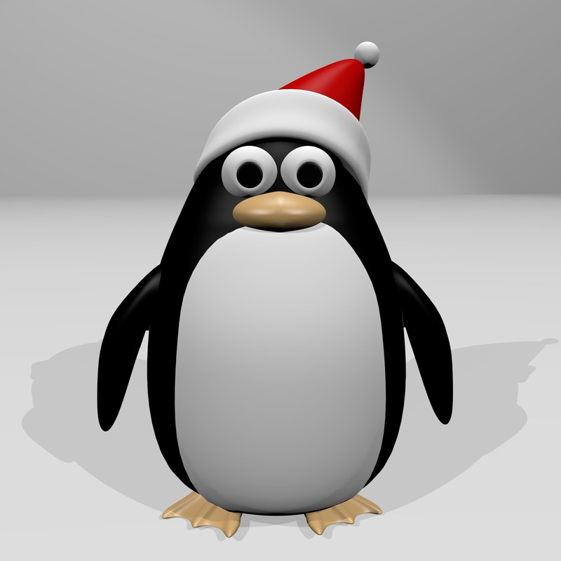 3dsmax christmas penguin cartoon