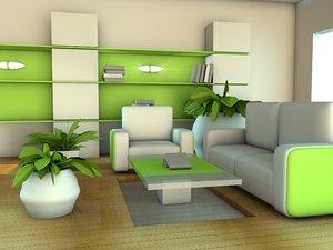 3d living room green