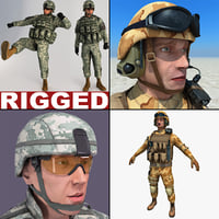 3d rigged soldiers