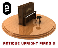 antique upright piano 3 3d model