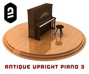 antique upright piano 3 3d model