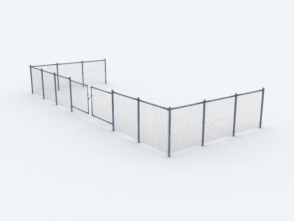 3ds max chain-link fence set polys