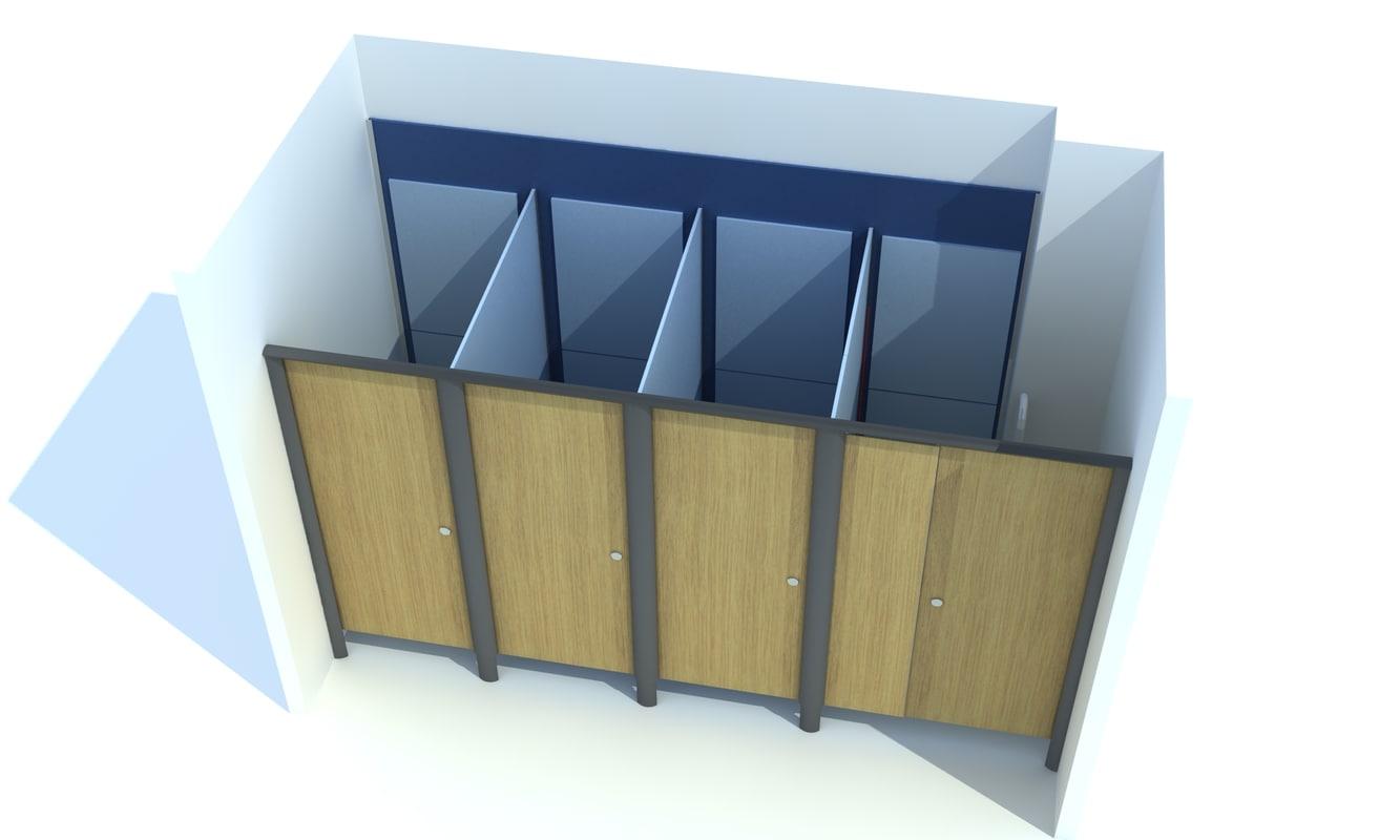 3d toilet cubicals aero