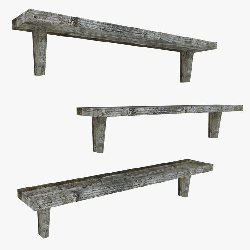 wooden shelving 3d 3ds