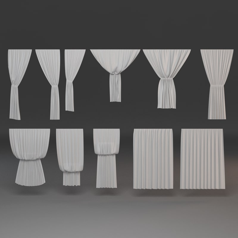 3d model of curtains