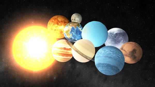 solar planets sun 3d ma