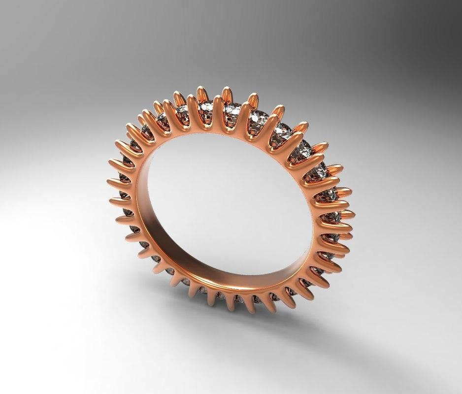 3ds max band ring circle diamonds