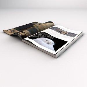 open magazine book 3d model