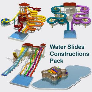 water slides set 3d model