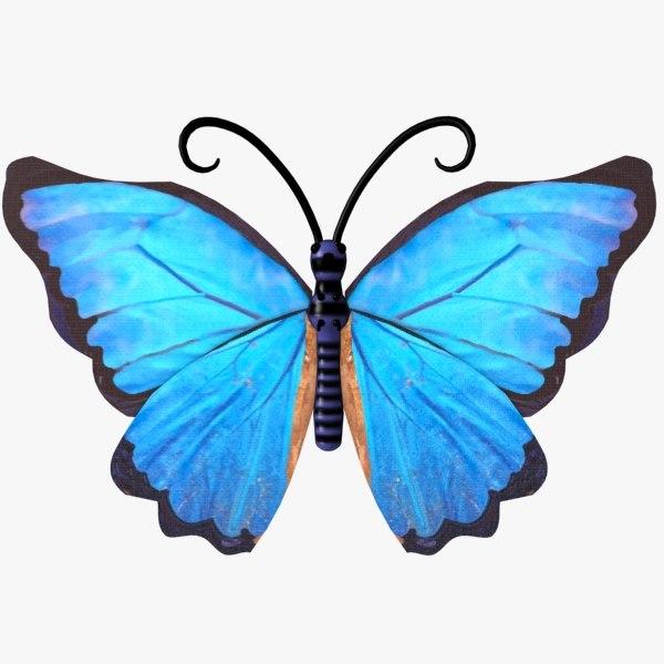 3d butterfly blue fly