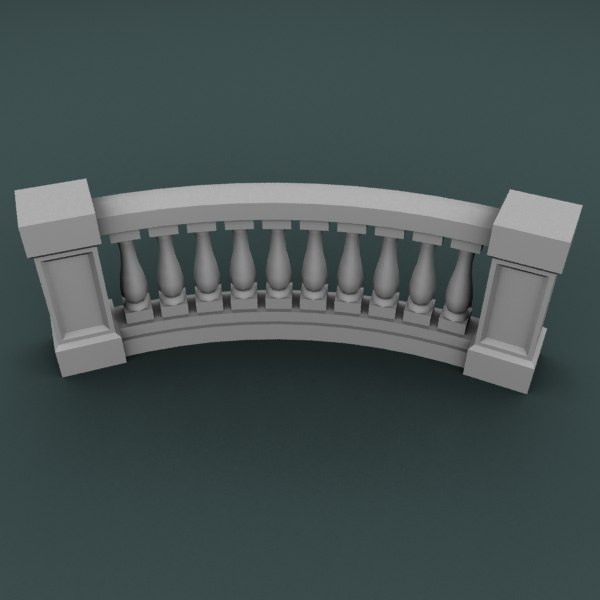 curved balustrade 3d 3ds