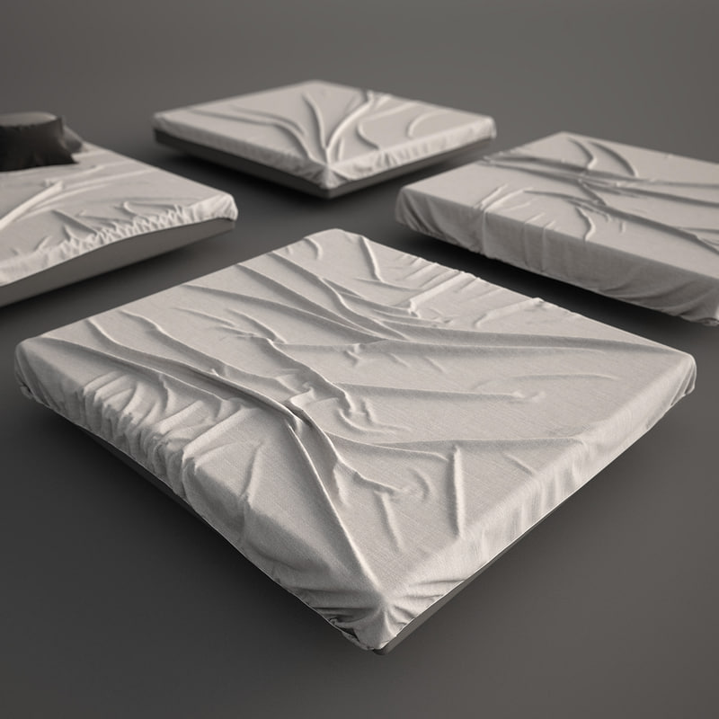 3d model bed mattress sheet set