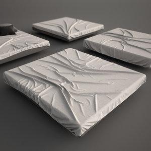 3d model bed mattress sheet set