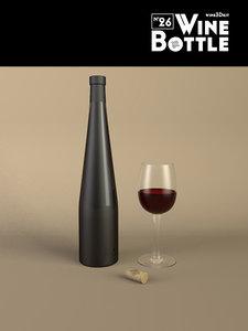 3d bottle 26 wine