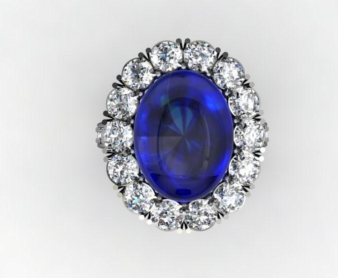 diamond cabachon ring 3dm