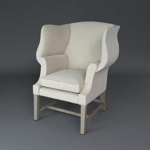 1920 s georgian chair 3d model
