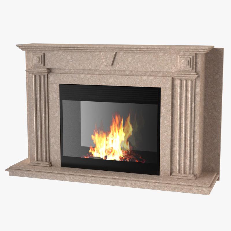 3d model fireplace maxwell