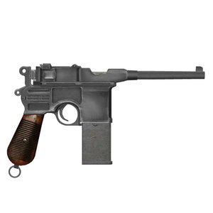 3d model mauser pistol broomhandle