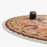 Oriental Round Rug with Fringe