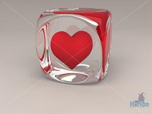 3d model glass heart valentine s