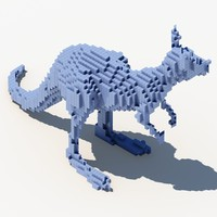 3d model pixel kangaroo