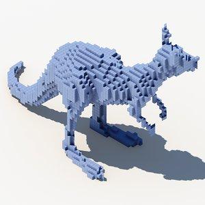 3d model pixel kangaroo