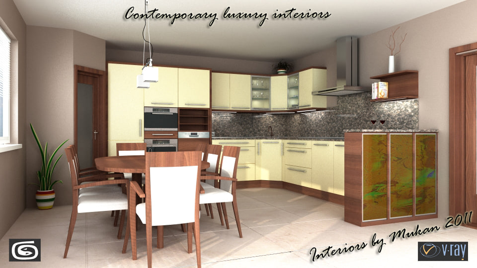 max visualisation contemporary kitchen scene