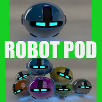 3d c4d robotic pod blue